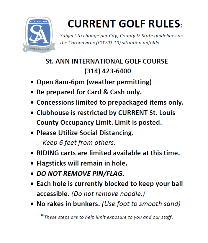 JUNE TEMP GOLF RULES